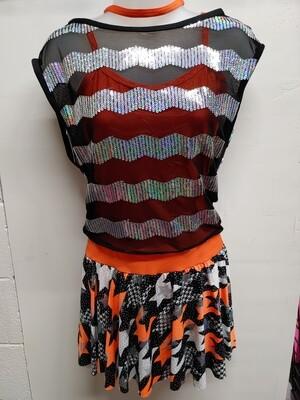 Orange and black dance costume