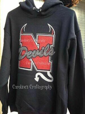N Devils Rhinestone Vinyl Shirt (Black)