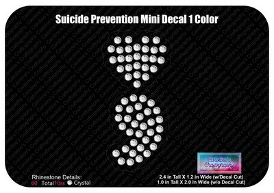 Suicide Prevention Heart Mini Decal (1 Color)