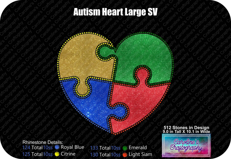 Heart Puzzle Autism Stone Vinyl