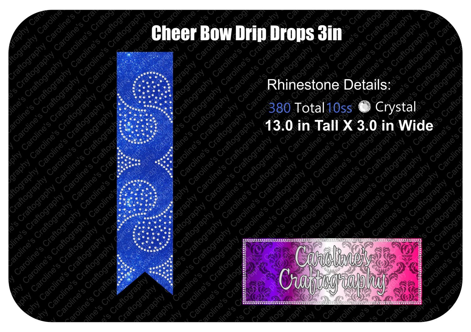 Drip Drops 3in Cheer Bow