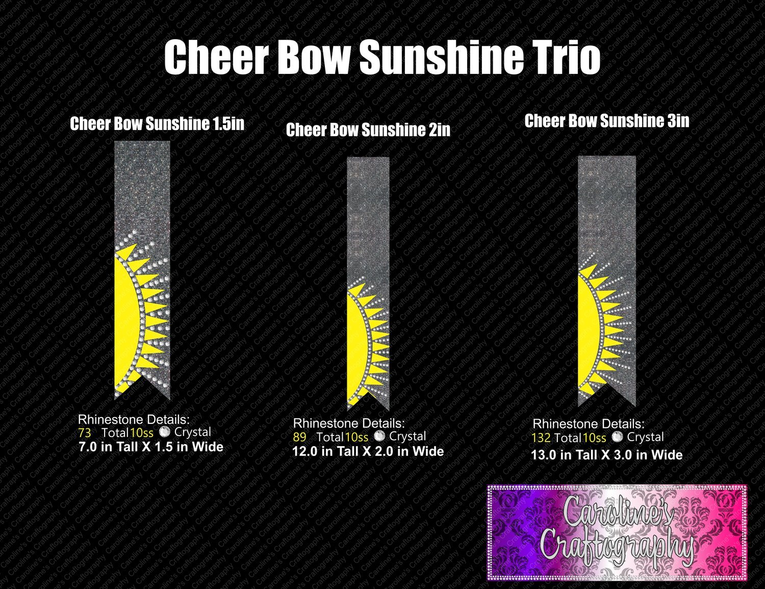 Sunshine Trio Cheer Bow Bundle