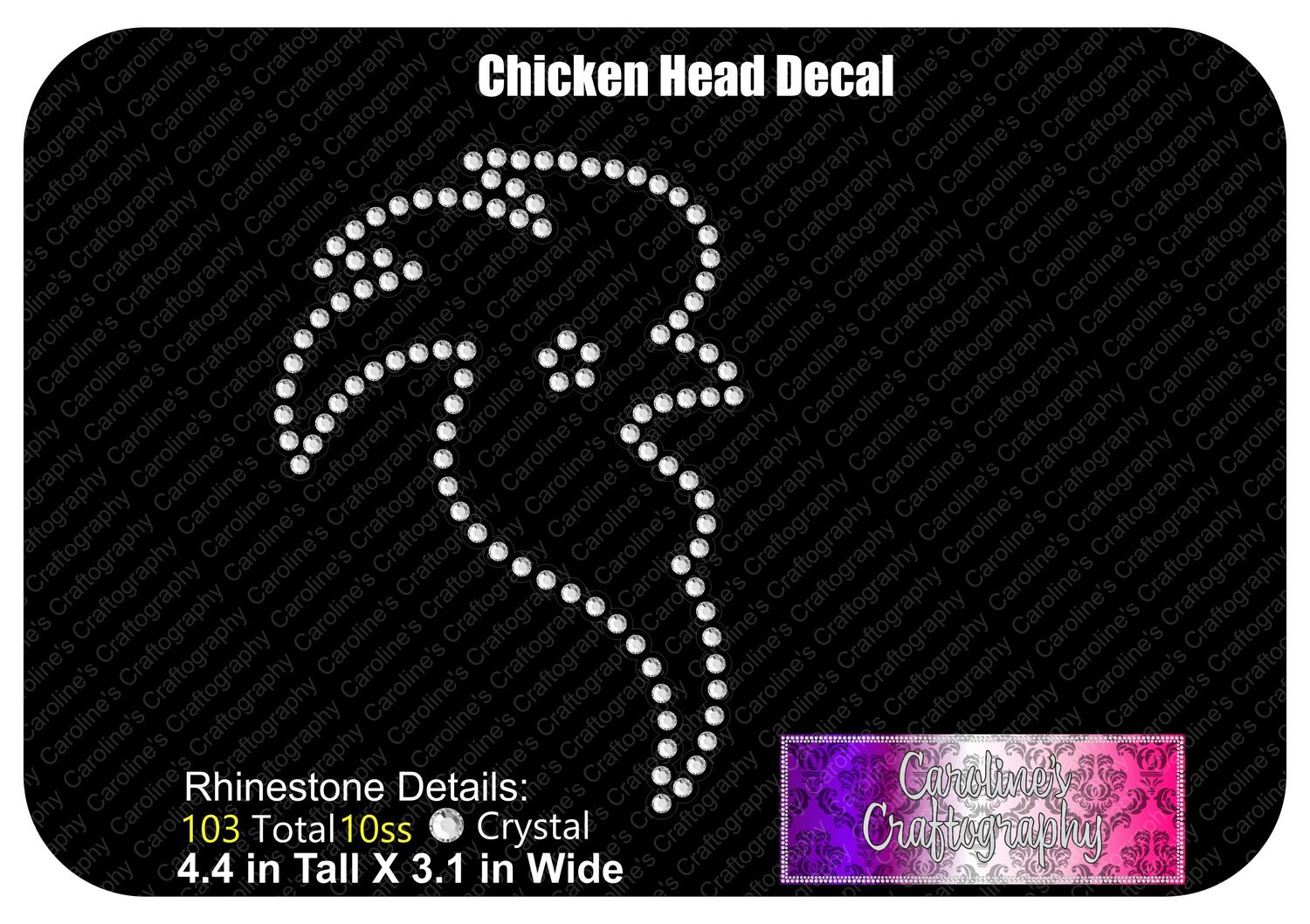 Chicken Head Stone Decal