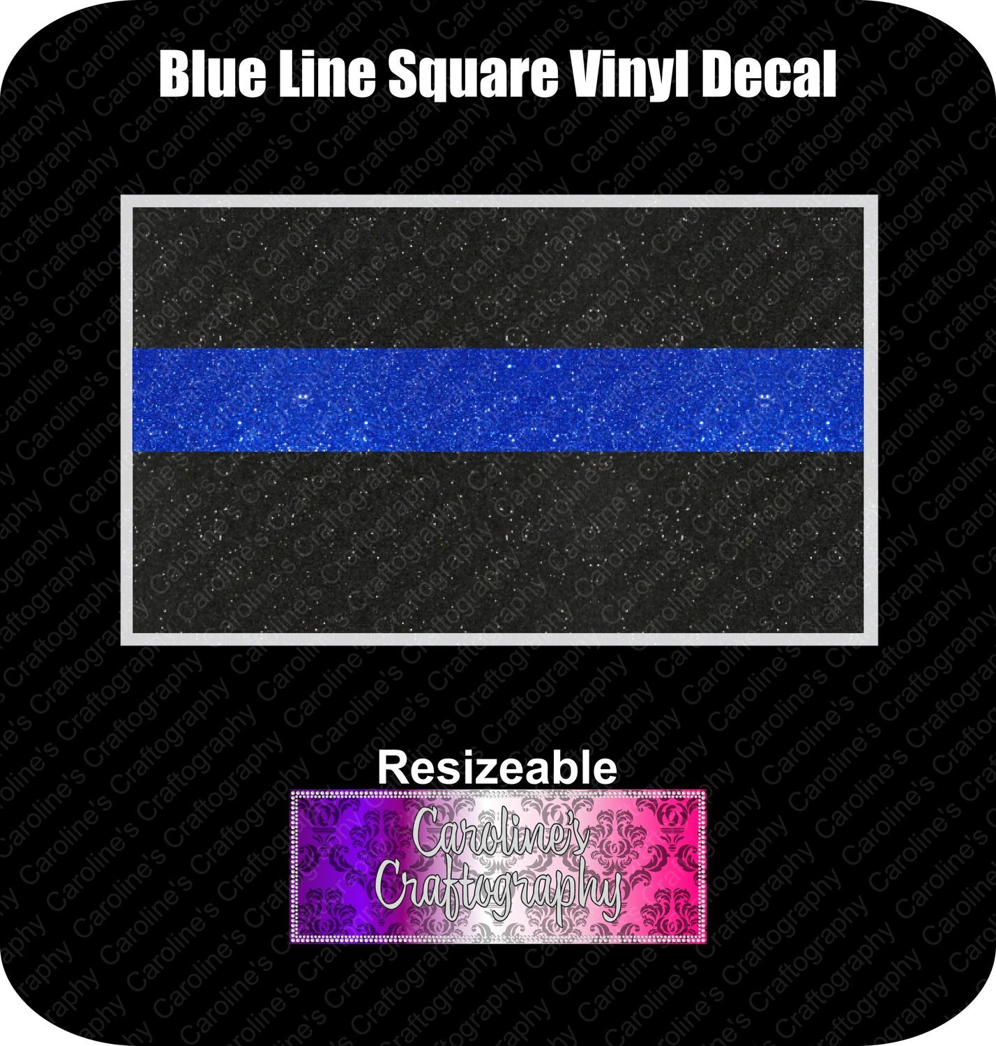 Blue Line Square Vinyl Decal