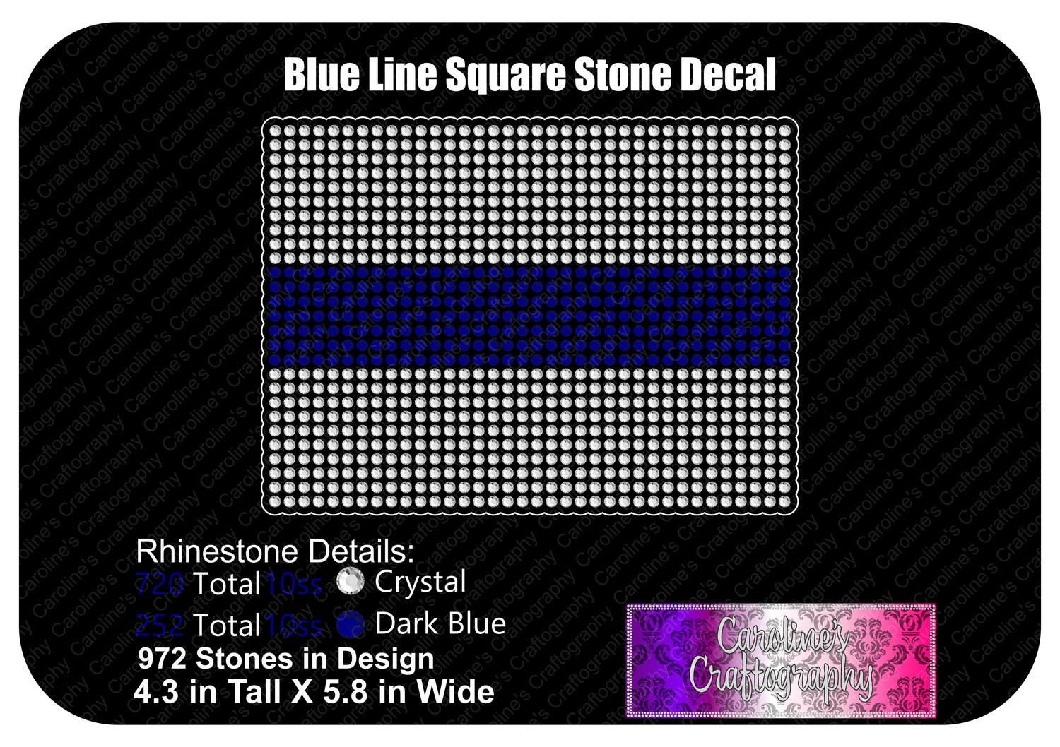 Blue Line Square Stone Decal