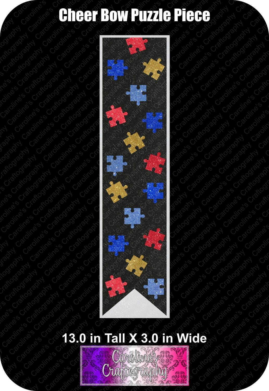 Puzzle Piece 3in Cheer Bow Vinyl (Autisim Support)