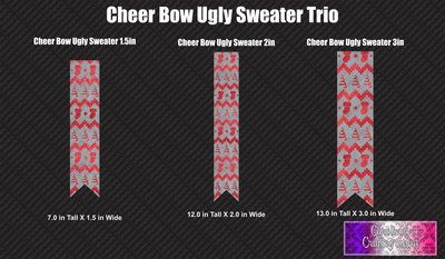 Ugly Sweater Cheer Bow Trio