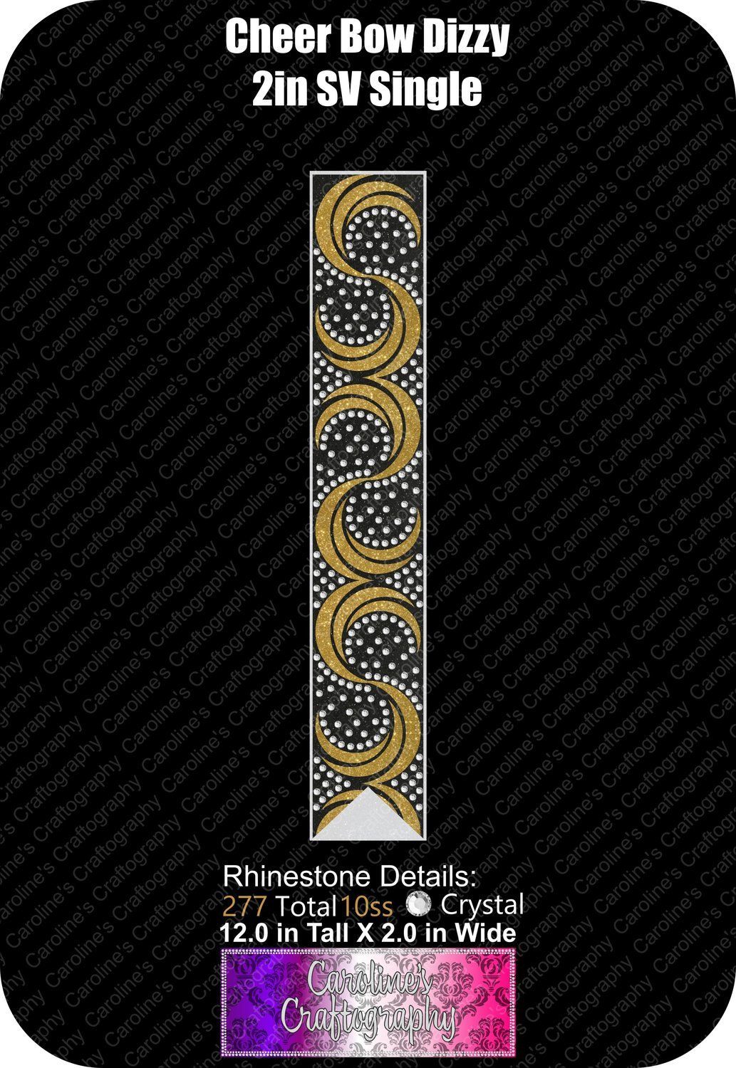 Dizzy 2in Single Color Stone Cheer Bow