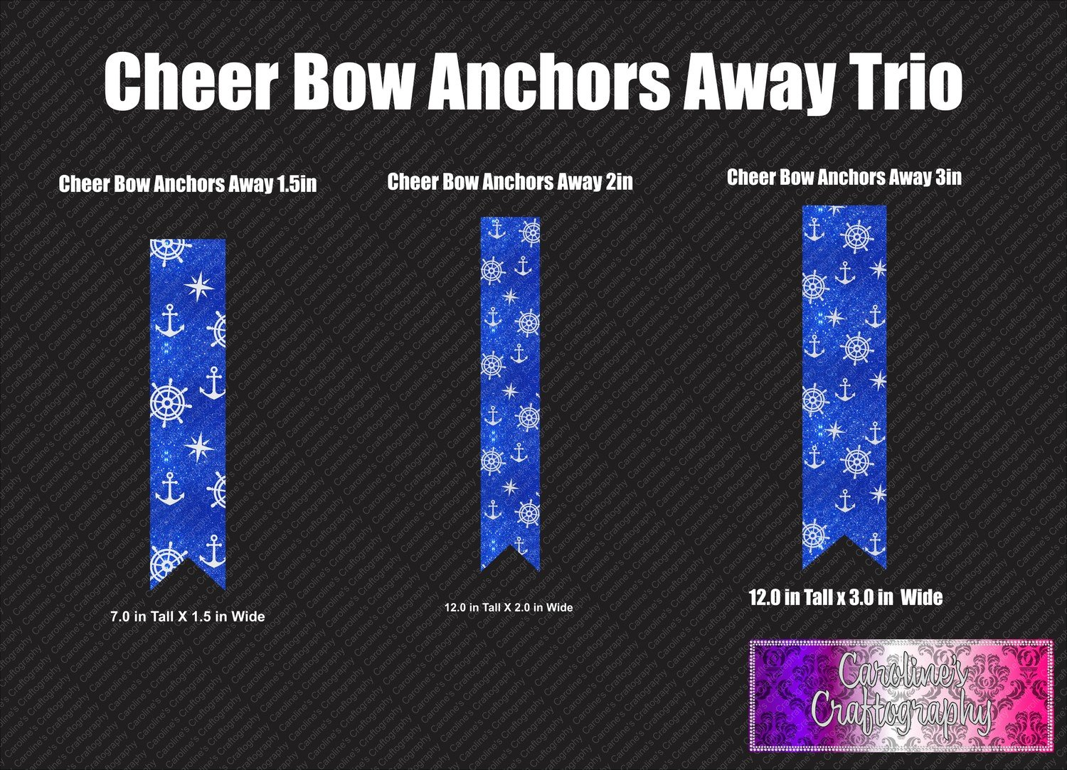 Anchors Away Cheer Bow Trio Vinyl