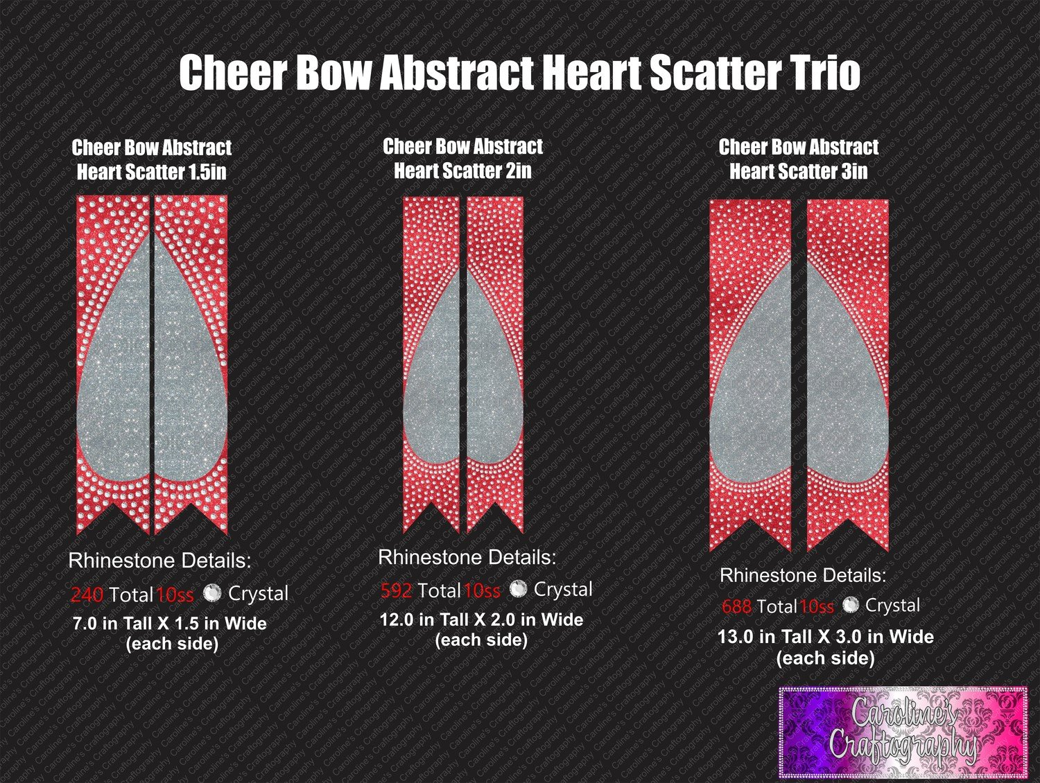 Abstract Heart Scatter Cheer Bow Stone Vinyl Trio Bundle