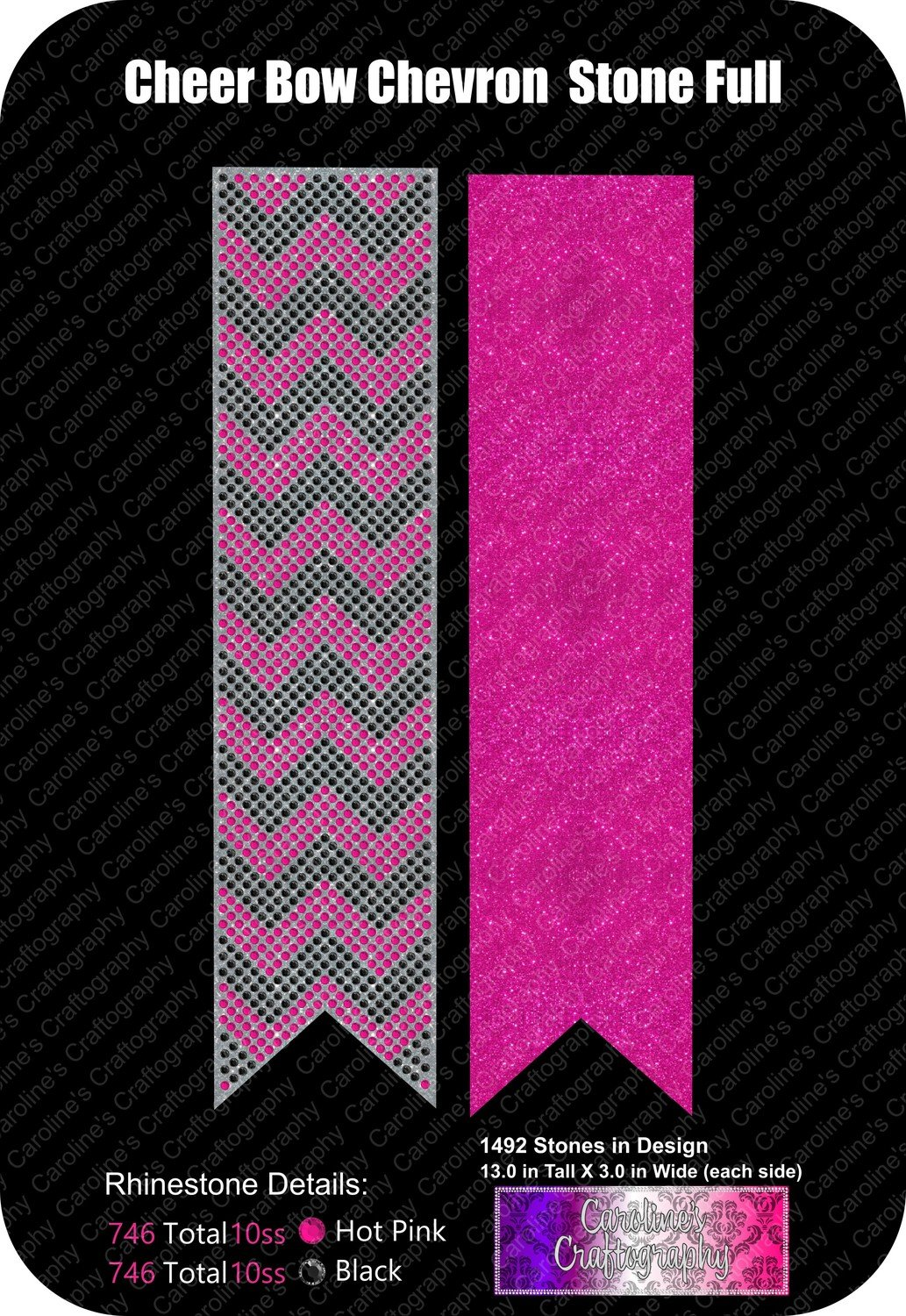 Chevron Full Cheer Bow 3in Stone