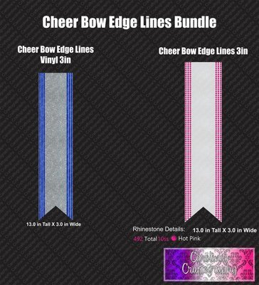 Edge Lines Cheer Bow 3in Stone
