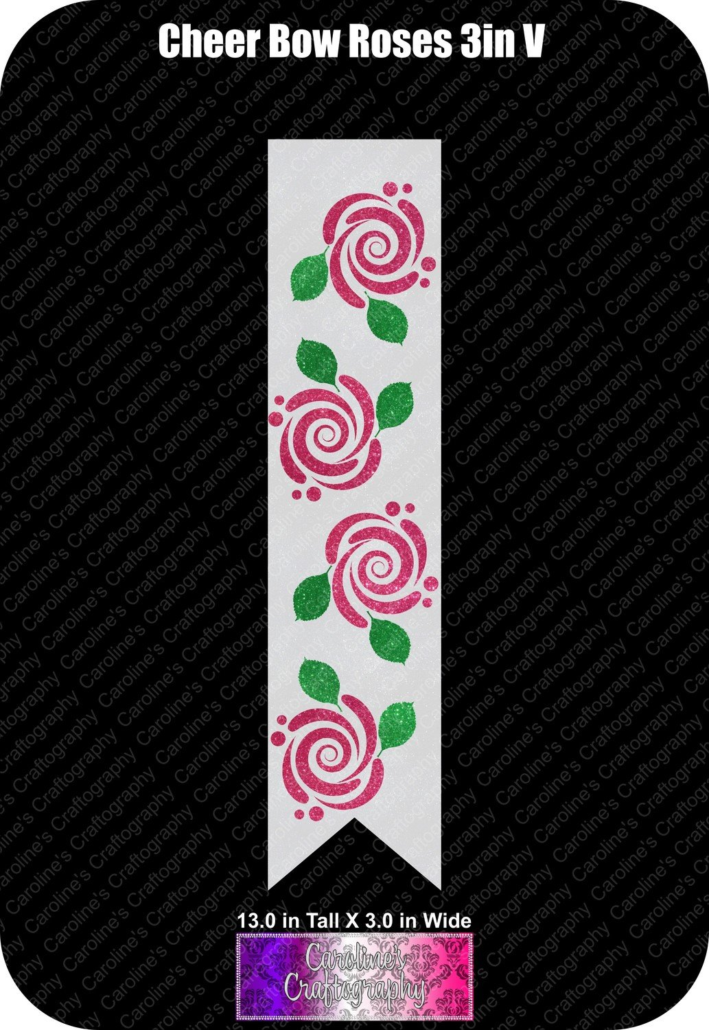 Roses Vinyl 3in Cheer Bow