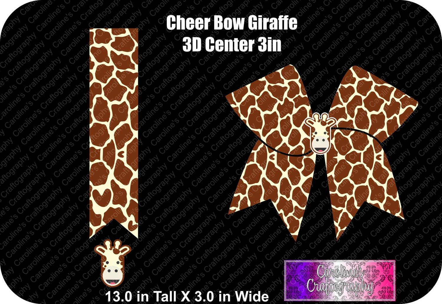 Giraffe 3in with 3D Center Cheer Bow