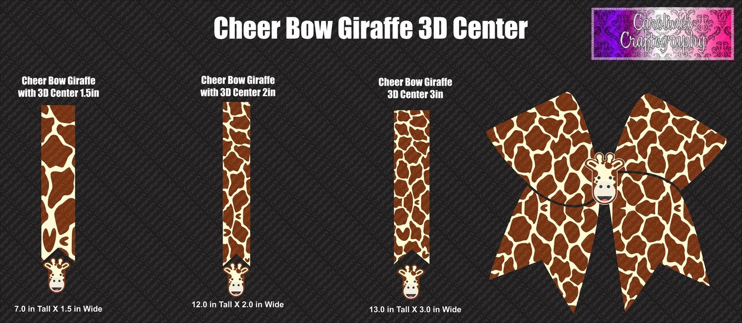 Giraffe with 3D Center (3 Sizes) Cheer Bows