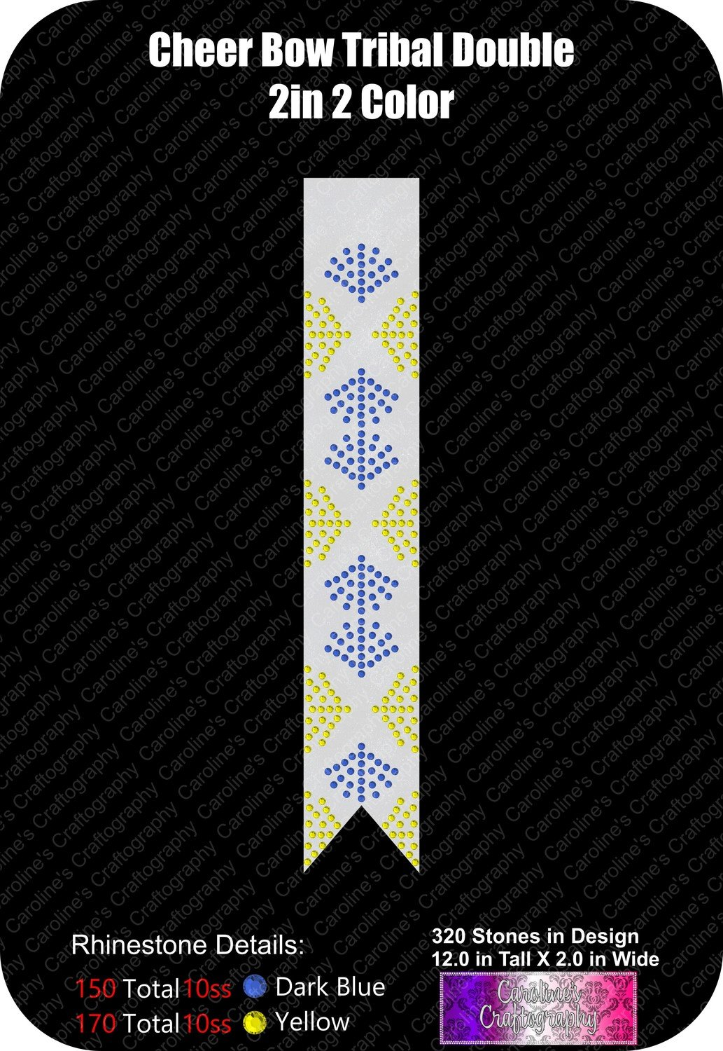 Tribal Double 2 Color 2in Cheer Bow Stone
