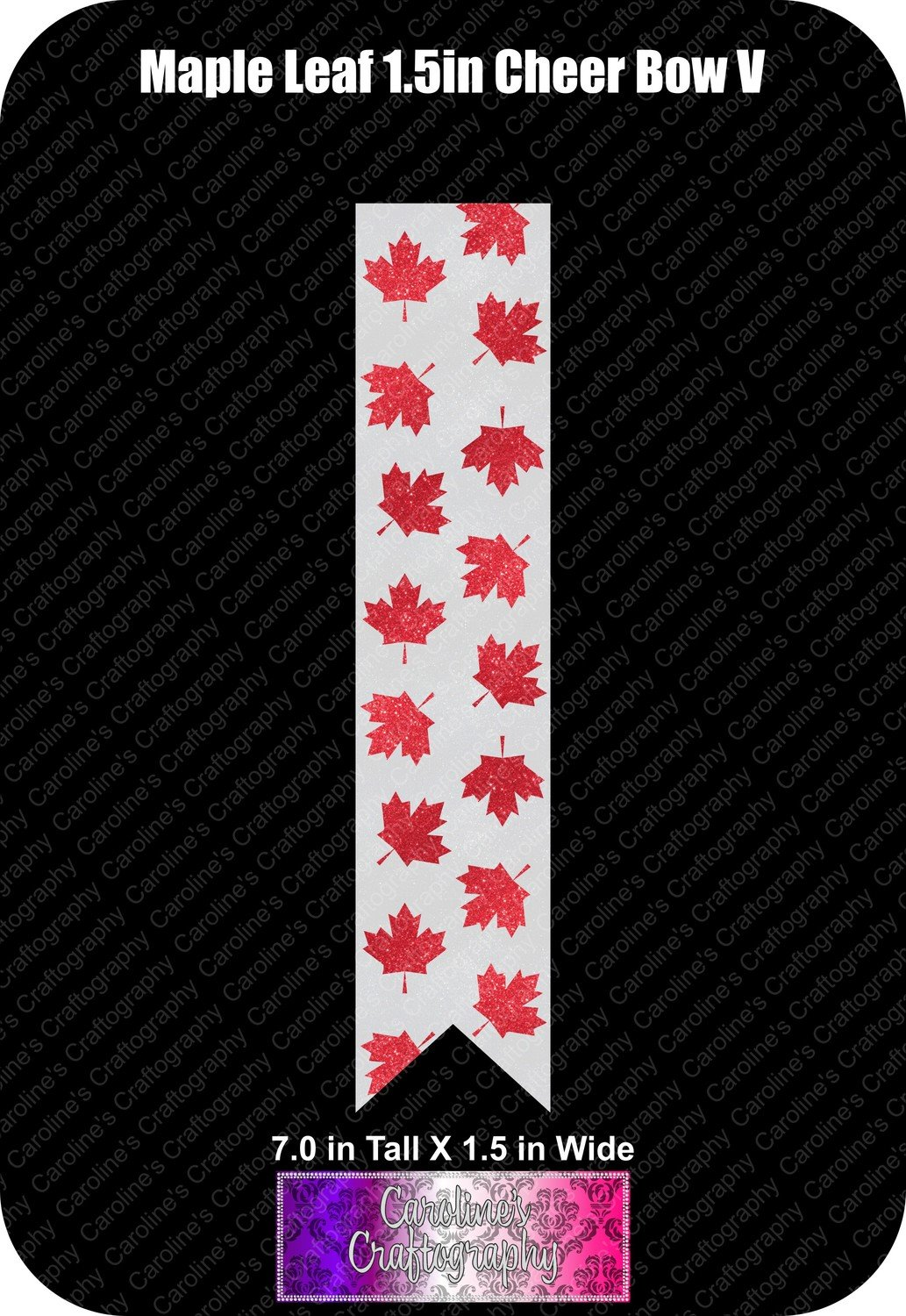 Maple Leaf 1.5in Cheer Bow Vinyl