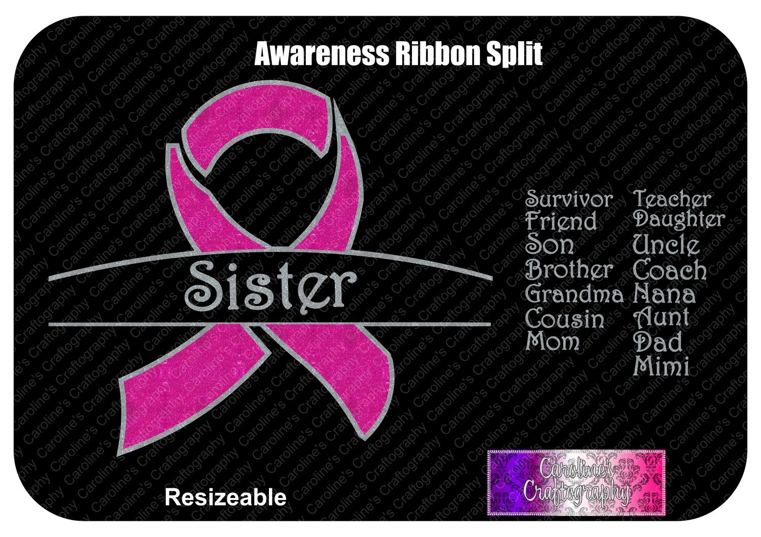Awareness Ribbon Split Vinyl