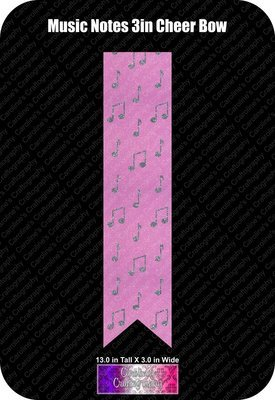 Music Notes 3in Cheer Bow Vinyl