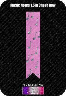Music Notes 1.5in Cheer Bow Vinyl