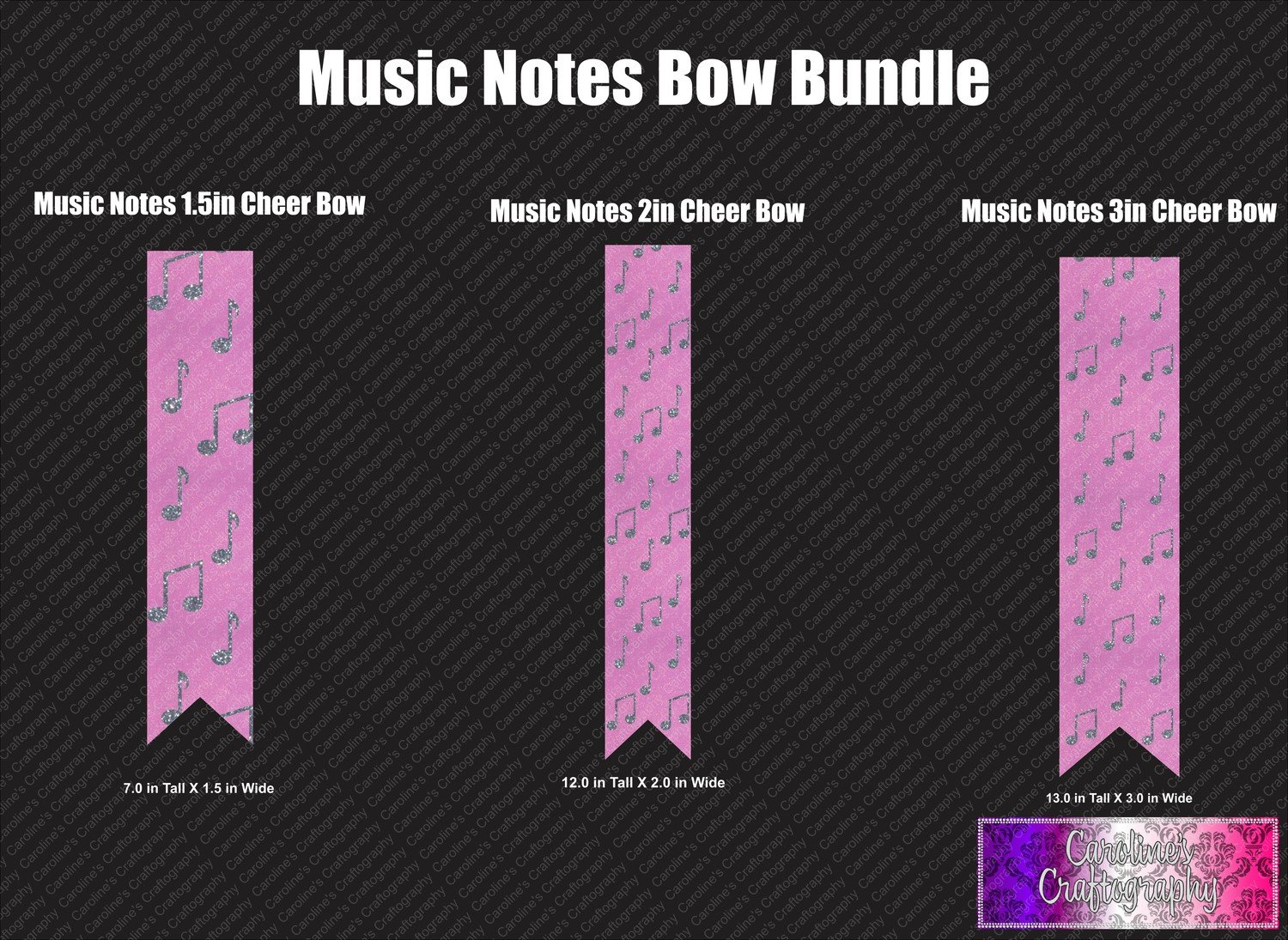 Music Notes Cheer Bow Vinyl Bundle