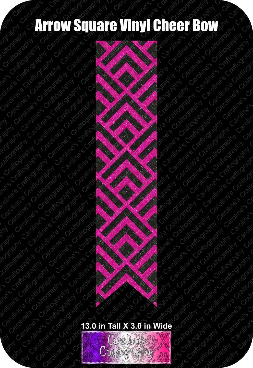 Arrow Square Vinyl 3in Cheer Bow