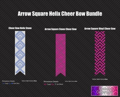 Arrow Square Helix 3in Cheer Bow Bundle