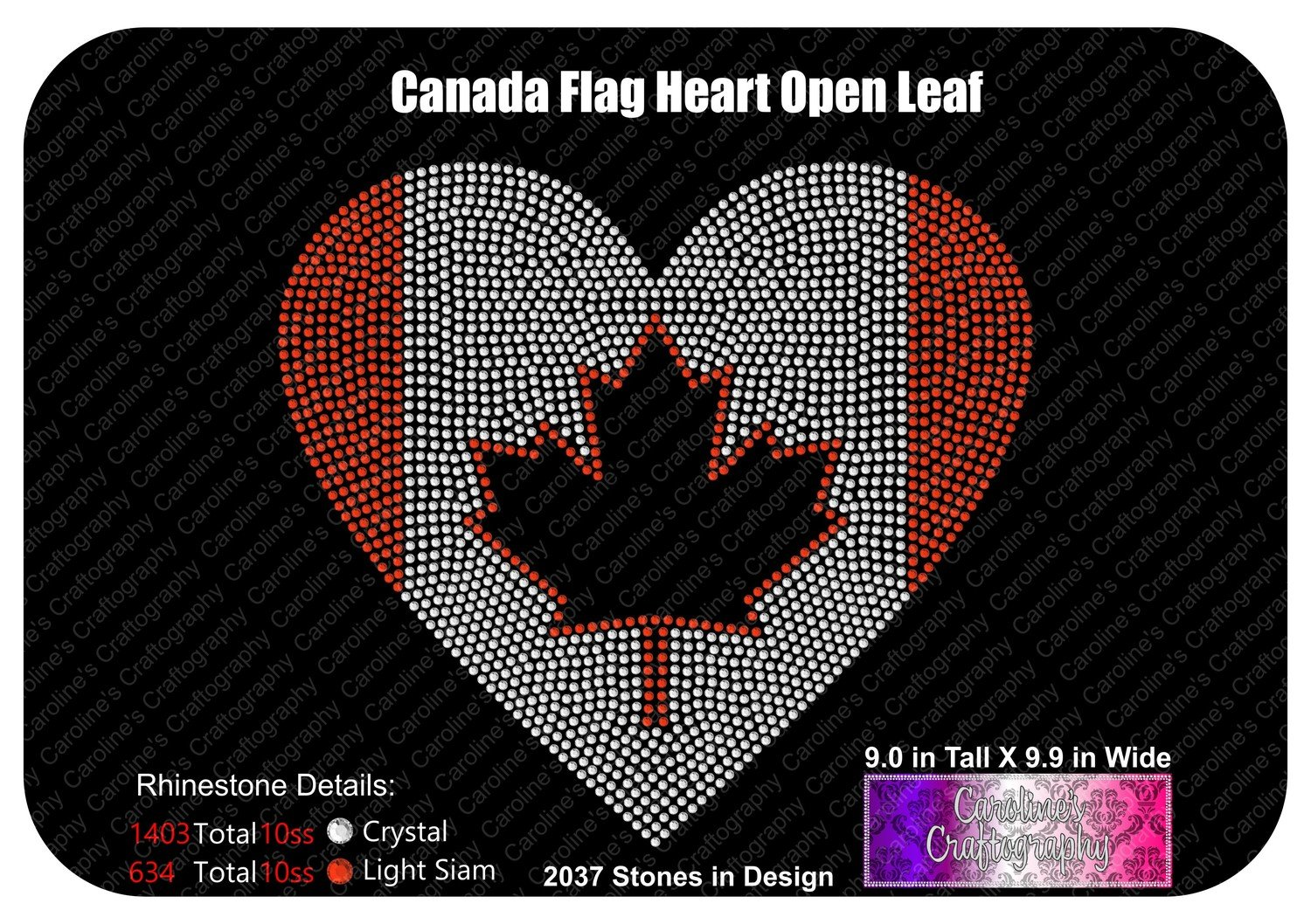Canada Flag Heart  Open Leaf Stone