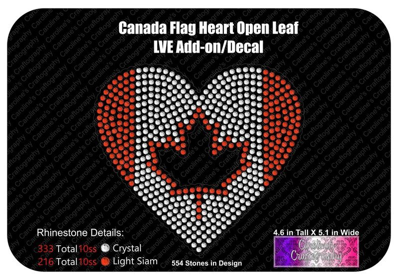 Canada Flag Heart Open Leaf Stone Decal LVE Add-on