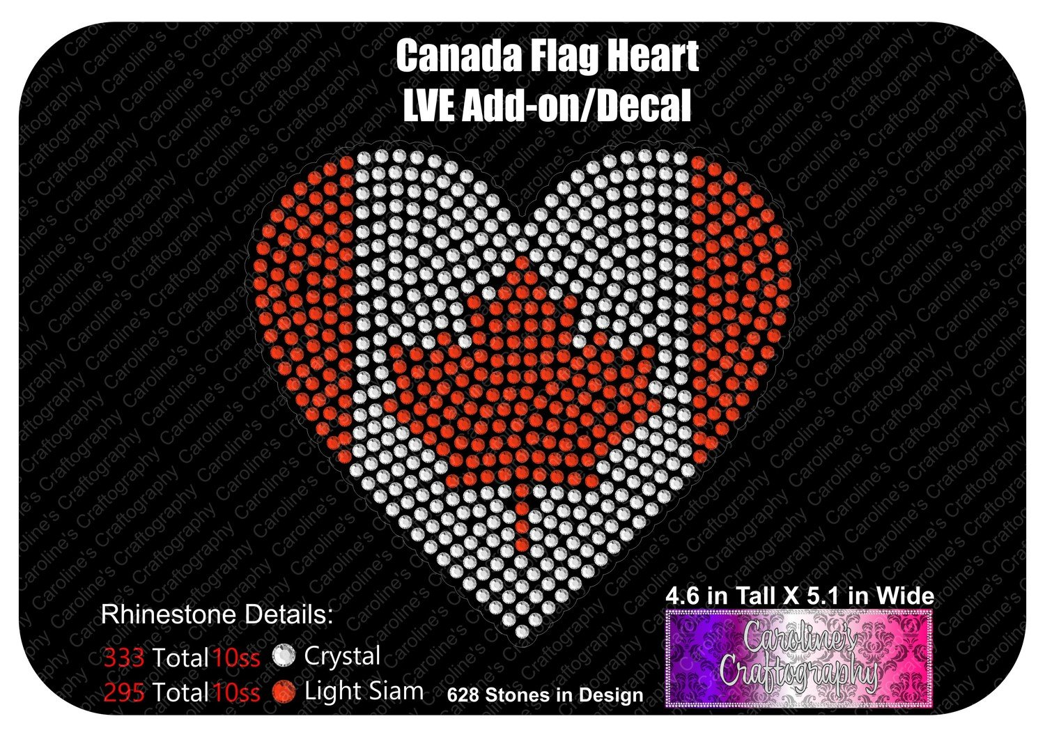 Canada Flag Heart Stone Decal LVE Add-on