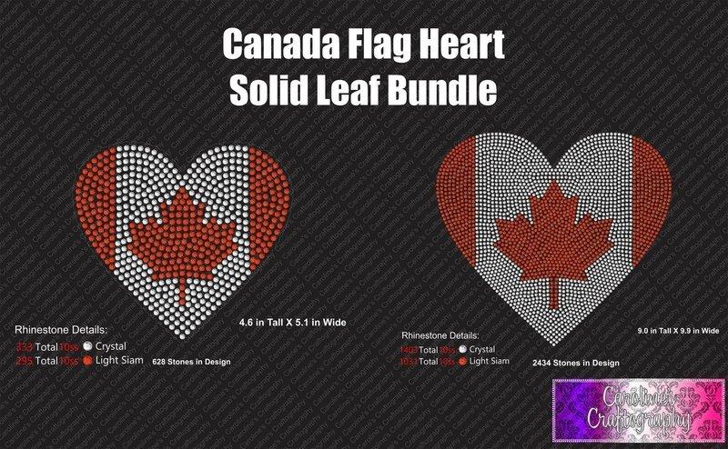 Canada Flag Heart Solid Leaf Stone Bundle