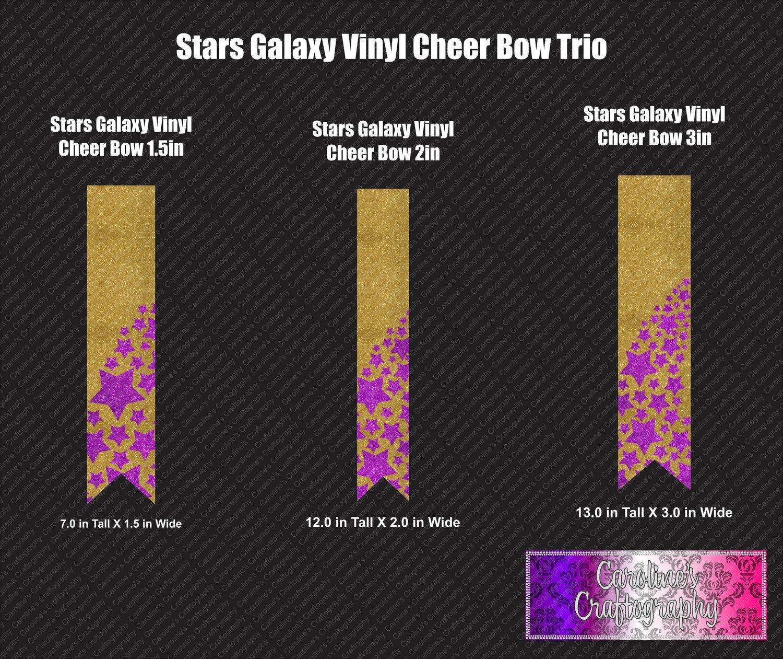 Star Galaxy Cheer Bow Vinyl Trio