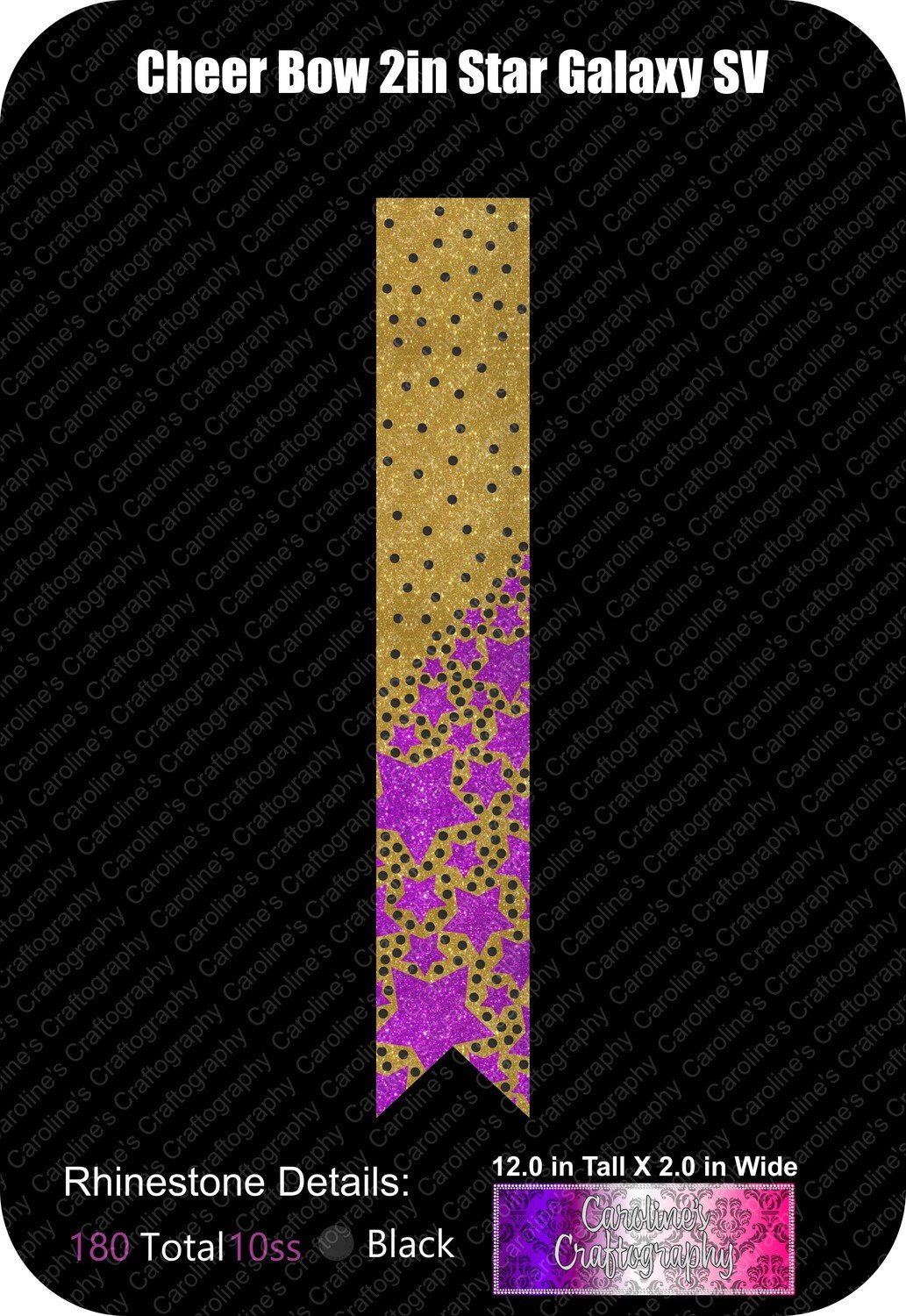 Star Galaxy 2in Scatter Cheer Bow Stone Vinyl