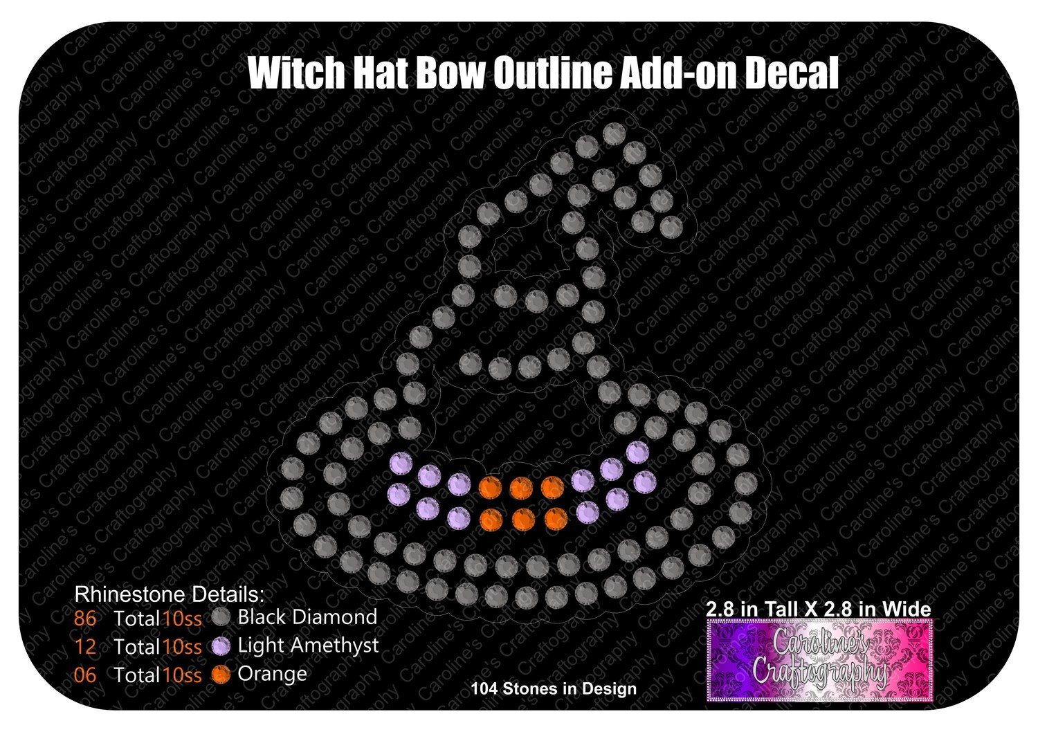 Witch Hat Outline Decal or Bow Add-on Stone