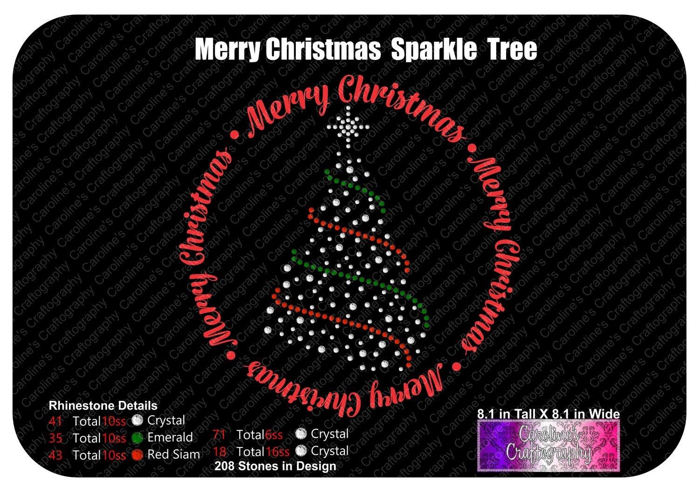 Merry Christmas Sparkle Tree Stone Vinyl