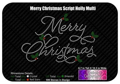 Merry Christmas Script Holly Multi Stone