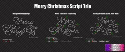 Merry Christmas Script Trio Stone