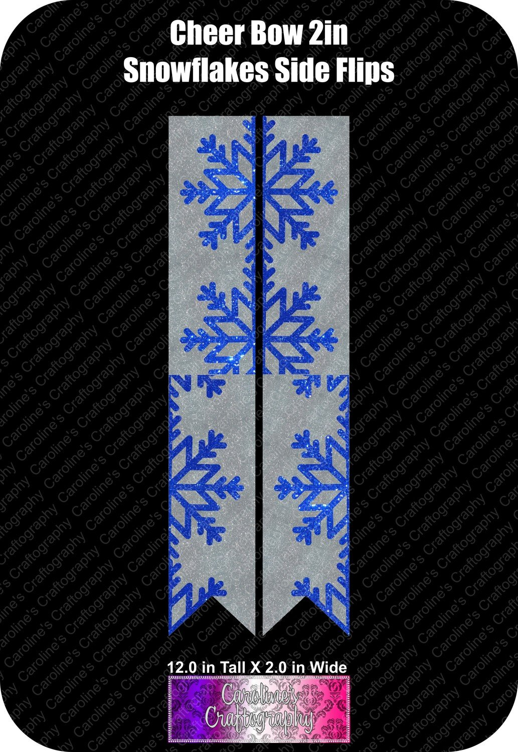 Snowflakes Side Flips 2in Cheer Bow Vinyl
