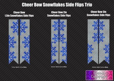 Snowflakes Side Flips Trio Cheer Bow Vinyl