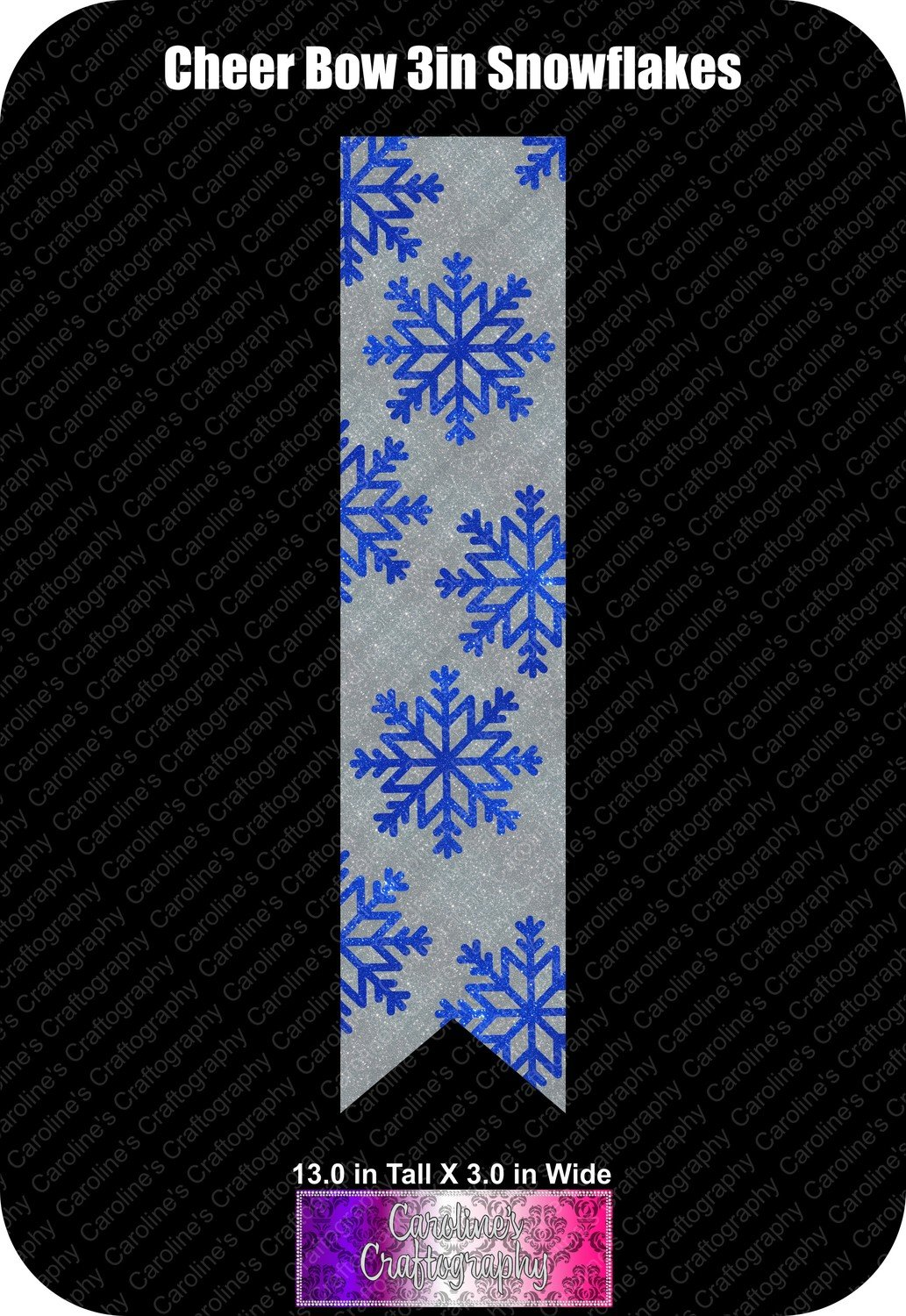 Snowflakes 3in Cheer Bow Vinyl