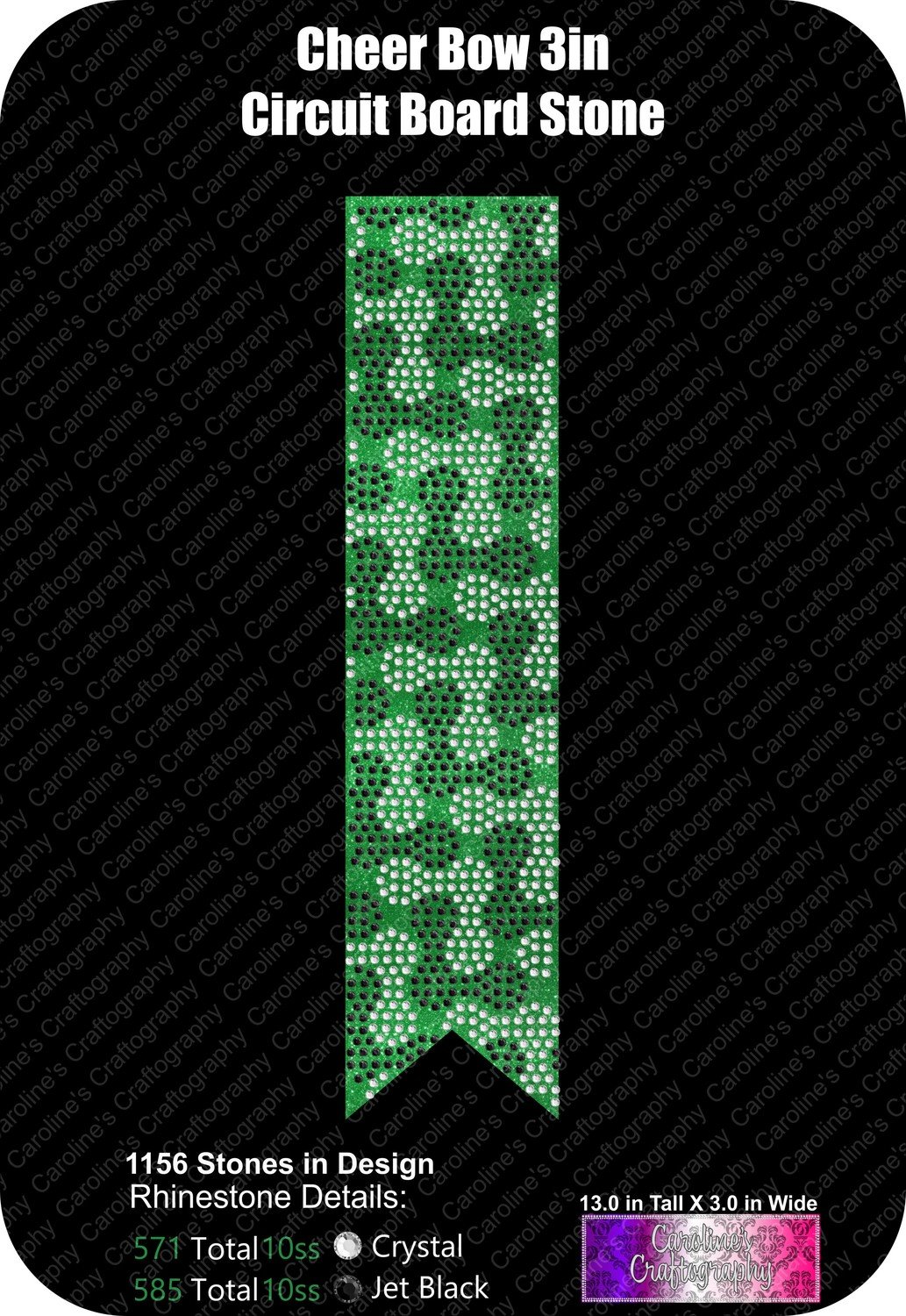 Circuit Board 3in Stone Cheer Bow