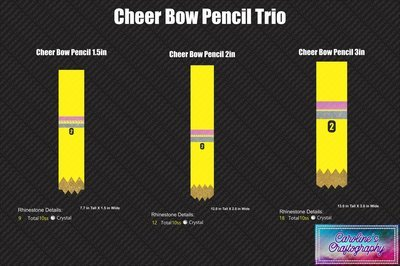 Cheer Bow Pencils Stone Vinyl Trio