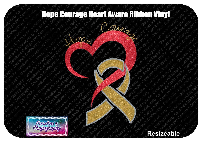 Hope Courage Heart Awareness Ribbon Vinyl