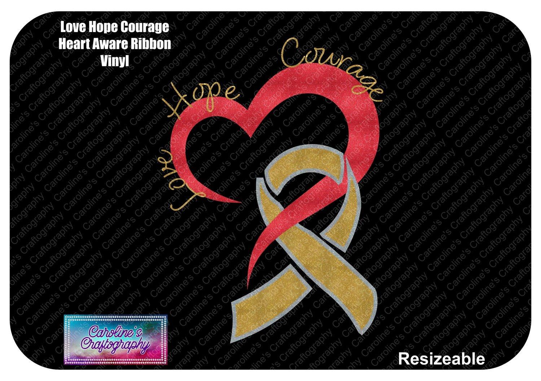 Love Hope Courage Heart Awareness Ribbon Vinyl
