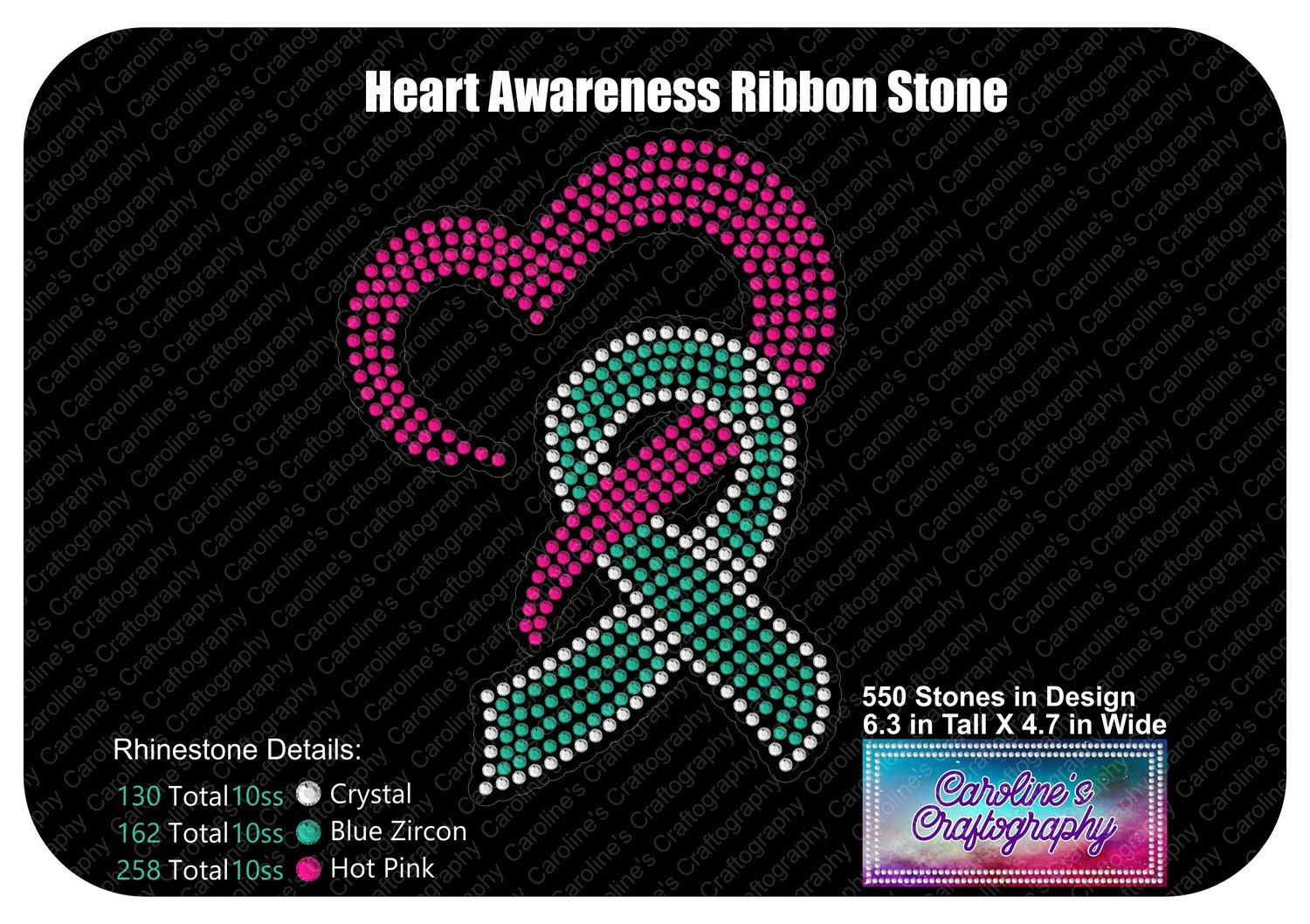 Heart Awareness Ribbon Stone Decal