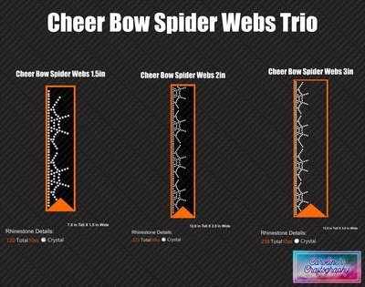 Cheer Bow Spider Web Edge Stone Trio