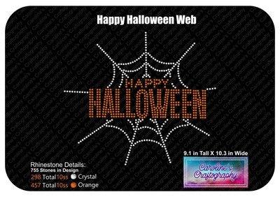 Happy Halloween Spider Web Stone