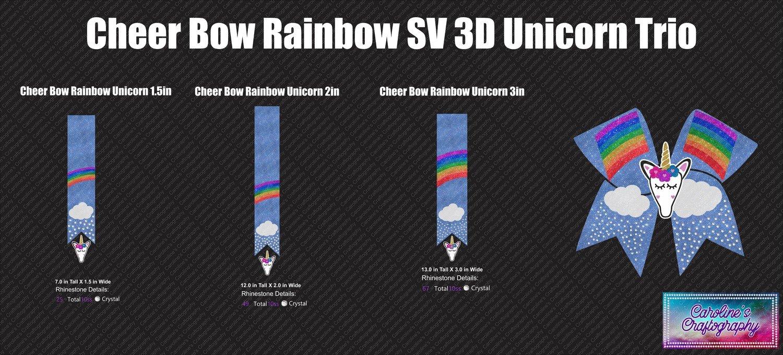 Cheer Bow Rainbow Stone Vinyl Unicorn 3D Trio