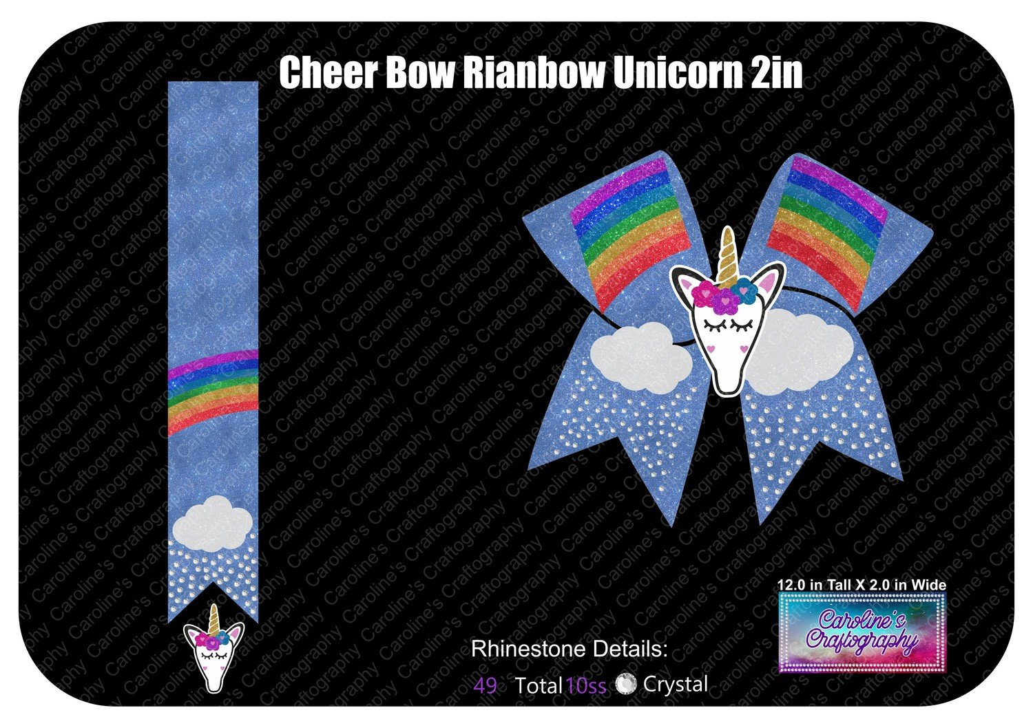Cheer Bow Rainbow Stone Vinyl with 3D Unicorn Center 2 inch