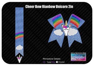 Cheer Bow Rainbow Stone Vinyl with 3D Unicorn Center 2 inch